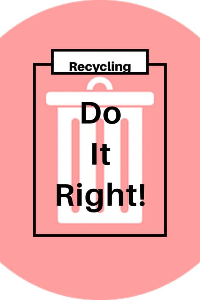 Recycle efficiently. A white symbol of a rubbish bin on a pink background. The caption in black reads, recycling do it right! Recycle efficiently. Here are 5 steps towards getting it right. https://www.gardeninglove.co.uk/recycle-efficiently/