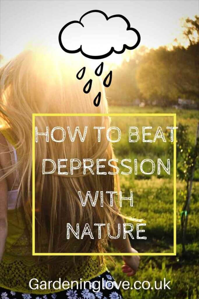 Young women walking through a field, the sun shines on her but she carries a rain cloud over her . The caption reads, how to beat depression with nature, gardeninglove.co.uk