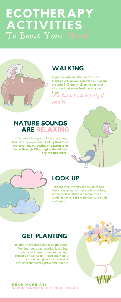 Eco therapy activities to boost your mood. Simple ways to be in nature to improve mental health and wellbeing. #eco-therapy #eco #therapy #ecotherapy #nature #woods #wilderness #healthandwellbeinf