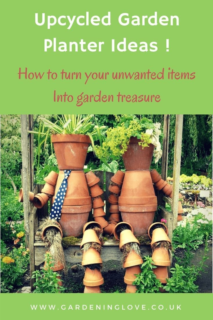 Upcycled garden planter ideas. Turn unwanted household items into garden plant pots and ornaments.#upcycle #garden #gardenpots #recycleinthegarden